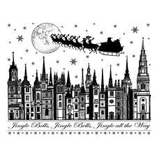 Crafty Individuals Christmas Stamps - Jingle Bells Rooftops, Santa, Sleigh, Moon