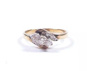 Yellow Gold Diamond Ring Three Stone London 1991 HM 9 Carat 2.4g