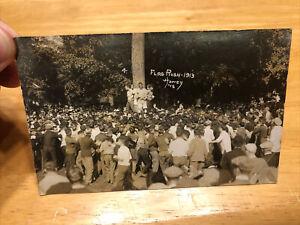 REAL PHOTO POSTCARD RPPC FLAG RUSH 1913 MAC MICHIGAN STATE E LANSING MICHIGAN MI
