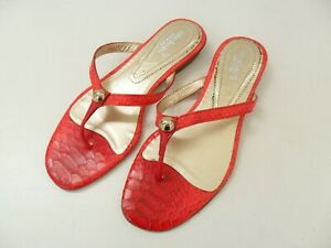NINABAIRD RED LADIES SANDALS SIZE 36 SHOES DESIGNER LEATHER PYTHON MADE IN ITALY
