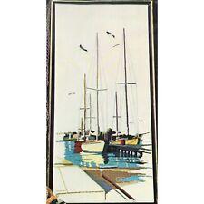 New listing Saltwater Harbor Vtg Crewel Kit Carol & Don Henning Sailboats Paragon Kit Wool
