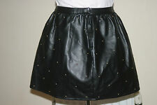 NEW LOOK BLACK Faux LEATHER Studded SKATER SKIRT S uk12eu40us8 Waist w28in w71cm