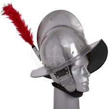 18 gauge Steel Medieval Knight Spanish Morion Helmet with Red Plume of feathers