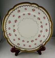 Elite Limoges Antique Porcelain Plate Double Gold Trim with Rows of Roses
