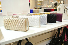 NEW Shining Satin Ladies Evening Clutch Bag Wedding Bridal Chain Handbag Wallet