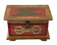 Scatola Cofanetto Tibetano Buddista 20cm Conch Vajra Fiocco Glorioso Nepal 3487