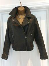 TOPSHOP Faux leather black biker jacket Size 12
