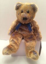 CLUBBY III the BROWN and BLUE BEAR   TY BEANIE BUDDY  SOFT and CUDDLY ret