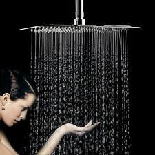 "Square 12"" Stainless Steel Chrome Overhead Bathroom Water Rain Shower Head 300mm"