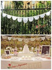 "Vintage Lace Wedding/Birthday/Party Bunting/Banner~White~150"" Long~Handmade~"