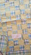 baby blanket quilt grean yellow blue 33.5x39
