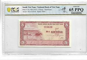 South Viet Nam Pick#13a 1955 5 Dong PCGS 65 PPQ