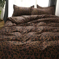 Leopard-print Coffee Bedding Set Duvet Quilt Cover+Sheet+Pillow Case Four-Piece