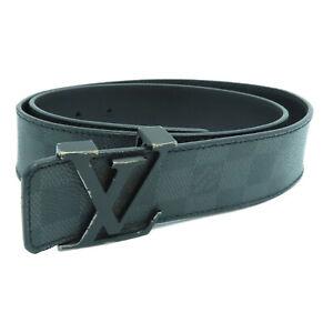 Louis Vuitton LV Belt M9808 Damier Graphite Black 0729