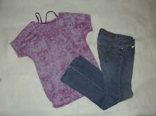 Girls size 8 Jordache Bootcut jeans Total Girl layered top purple tye die