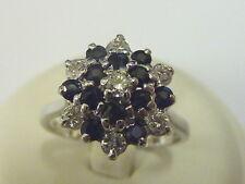 Onorevoli 18ct Bianco Oro 32pt Diamond & Zaffiro Snowflake cluster Anello-dimensione N