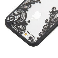 iPhone 6 / 6S - Black Lace Paisley Flower Hard TPU Rubber Gummy Skin Case Cover