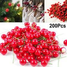 200Pcs Christmas Leaf Tree Red Artificial Cherry Holly Berry Branch Ornaments