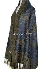 Gorgeous Pashmina Paisley Shawl/Wrap-Dark.Blue#AB
