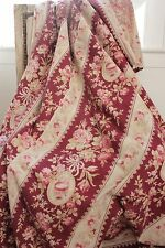 French fabric antique floral + stripe cotton pillow upholstery material roses
