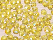 T082 Transparent Iridescent Yellow Flower Beads Jewellery Finding 100pcs