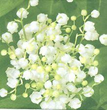 2 Serviettes en papier Fleurs Muguet Paper Napkins Flowers Lily of the valley