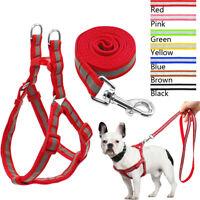 Reflective Nylon Pet Harness & Leash Set No Pull Dog Walking Vest for Blue Pink