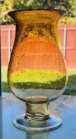 """Large 11.25"""" Hand Blown Glass Vase Amber Yellow Bubbled, Clear Pedestal GUC"""