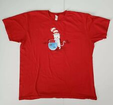 Red Cat In The Hat Kitten Red Fish Blue Fish Dr Seuss Shirt Size XL