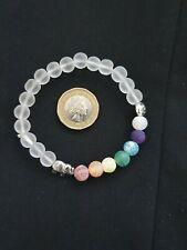 White Frosted 7 Chakra Beads Elephant Lotus Flower Bracelet Meditation Buddha