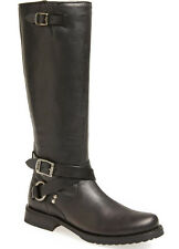 NEW FRYE Womens Veronica Black Leather Criss Cross Tall Boots Size 6 B Side Zip