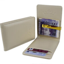 Mens All Cream & Steel Gold Money Clip Faux Leather Wallet ID Card Cash Holder