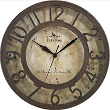 New FirsTime Large Vintage Round Bronze Raised Number Wall Clock Decor Art DIY