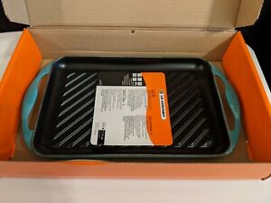 Le Creuset TURQUOISE Cast Iron Enamel Grill #33 Skinny Rectangular New in Box
