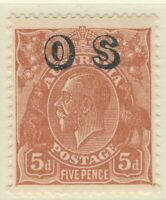 5d Brown KGV. CofA Watermark. Overprinted OS. MUH.
