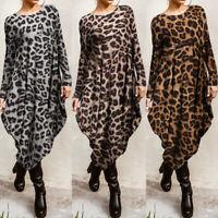 ZANZEA Women Long Sleeve Asymmetrical Hem Shirt Dress Leopard Print Dress Plus