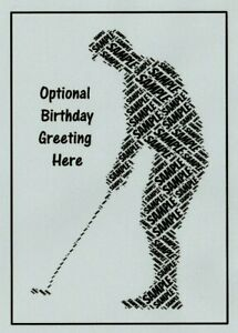 PERSONALISED GOLFER WORDART BIRTHDAY CARD- ANY NAME/COLOUR - BOY/SON/BROTHER/DAD