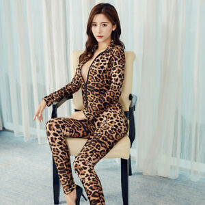 New Long Sleeve Leopard Bodysuit Zipper Jumpsuit Striped Catsuit Sexy Suit