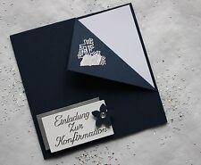 5 Einladungskarten zur Konfirmation dunkelblau/silber Handarbeit incl. Kuvert