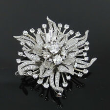 Antique 20.0ct Old Cut Diamond Platinum Floral Double Clip Pin Brooch