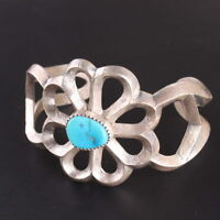 Native American authentic sandcast Sterling Silver .925 turquoise cuff bracelet
