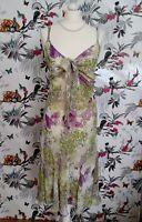 *BNWT Per Una* Quirky Lime Purple Butterfly Floral Print Tea Dress Size 16 R