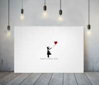 BANKSY THERE IS HOPE- DEEP FRAMED CANVAS WALL ART GRAFFITI PRINT- WHITE RED