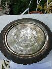 Antique Brass Etched Tray Circa 1900 Vishnu God   Animals Scalloped Edge  33cm