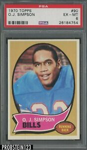 1970 Topps Football #90 O.J. Simpson Buffalo Bills RC Rookie HOF PSA 6 EX-MT