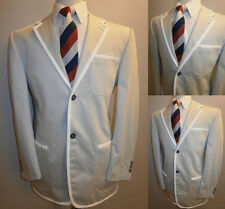 Mens Grey Boating Blazer White Trim 40 Suit Jacket College Rowing Sportcoat EU50