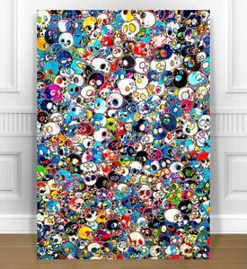 """TAKASHI MURAKAMI- SKULLS  CANVAS PRINT 24x36"""" JAPANESE POP ART"""