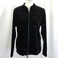 C.J. Banks Women's Jacket Size X Velvet Jeweled Black Full Zipper