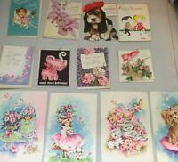 12pc Lot Vintage Hallmark,etc. 5c & 10c Birthday,etc. Greeting Cards