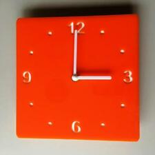 Square Orange & White Clock (white Backed) white Hands Silent Sweep Movement